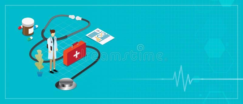 Il medico e l'attrezzatura dello stetoscopio si inverdiscono il concetto isometrico degli oggetti del fondo dell'insegna illustrazione di stock