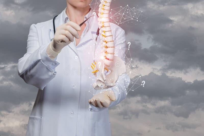 Il medico esamina la spina dorsale dell'uomo fotografia stock