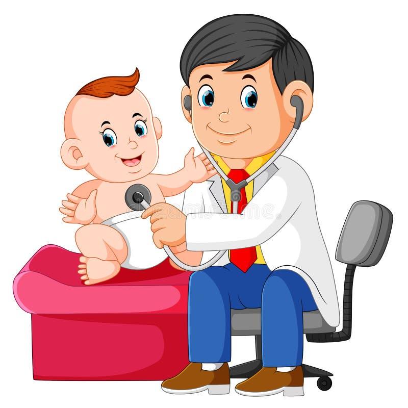 il medico sta controllando il neonato illustrazione di stock