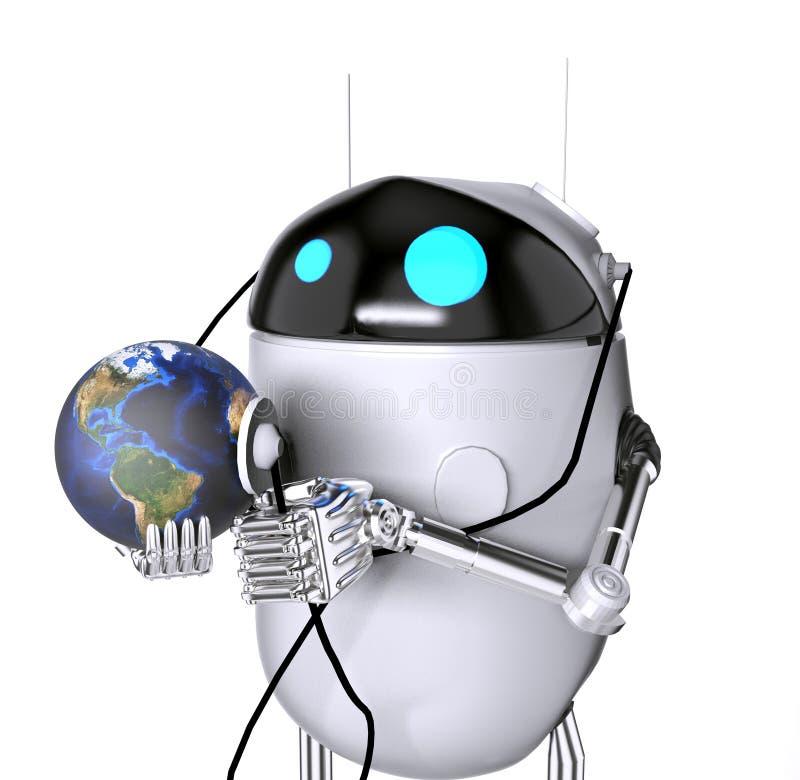 Il medik che ascolta la terra, 3d del robot rende illustrazione di stock