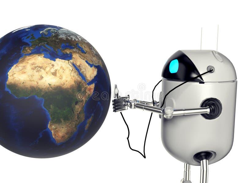 Il medik che ascolta la terra, 3d del robot rende fotografia stock libera da diritti