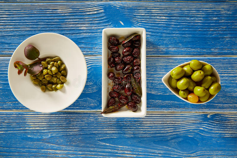 Il Mediterraneo marina le olive nere ed i capperi immagini stock libere da diritti