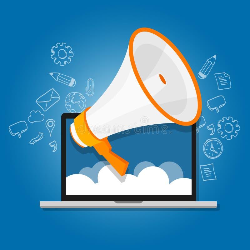 Il megafono annuncia la commercializzazione online di pubblica relazione di grido dell'altoparlante digitale illustrazione vettoriale