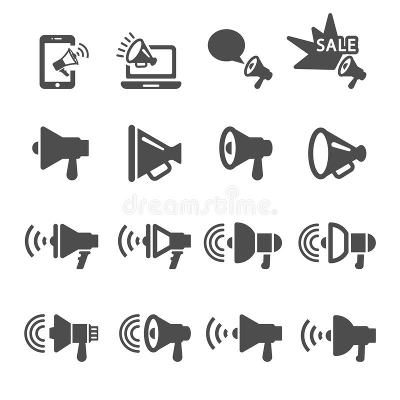 Download Il Megafono Nell'icona Di Azione Ha Messo 2, Vettore Eps10 Illustrazione Vettoriale - Illustrazione di altoparlante, vendita: 56879904
