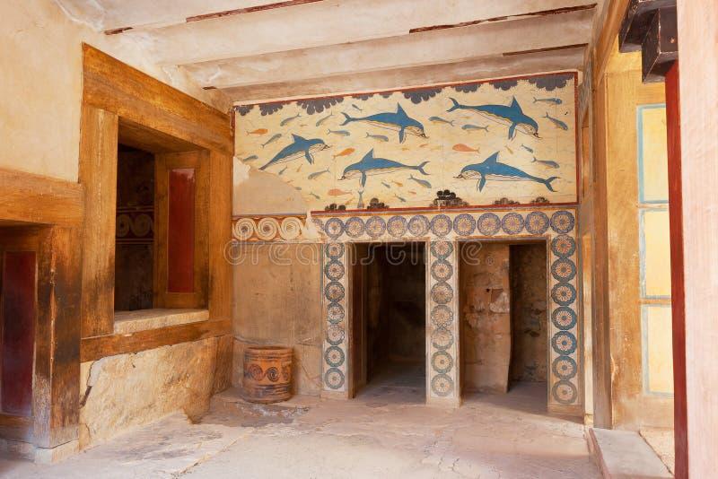 Il Megaron della regina. Palazzo di Cnosso, Creta, Grecia immagine stock