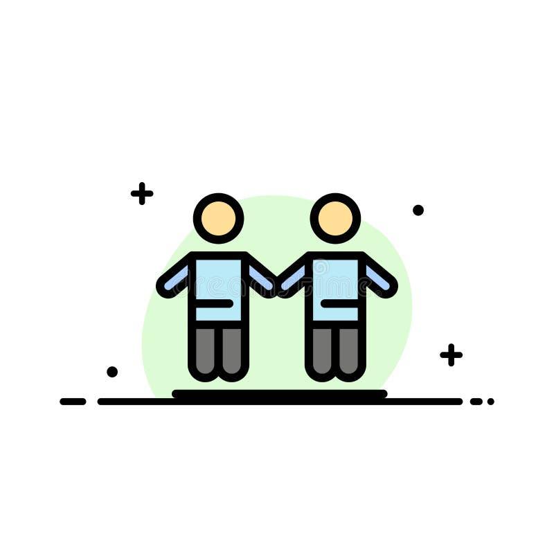 Il meglio, amici, amicizia, linea piana di affari del gruppo ha riempito il modello dell'insegna di vettore dell'icona illustrazione di stock