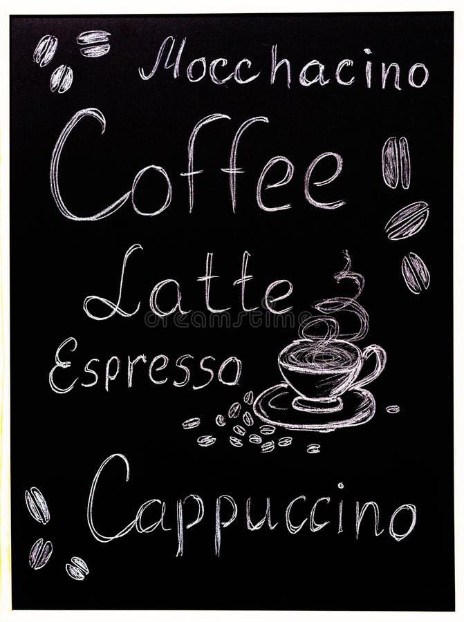 Il menu del caffè su fondo nero, stile d'annata ha stilizzato drawning con il gesso sulla lavagna illustrazione di stock