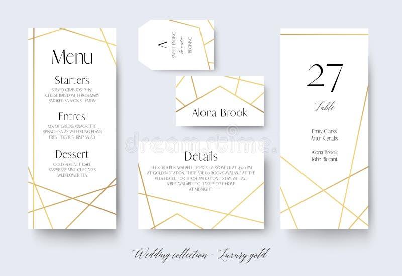 Il menu di nozze, l'etichetta, i dettagli, il posto, numero della tavola carda delicato illustrazione vettoriale