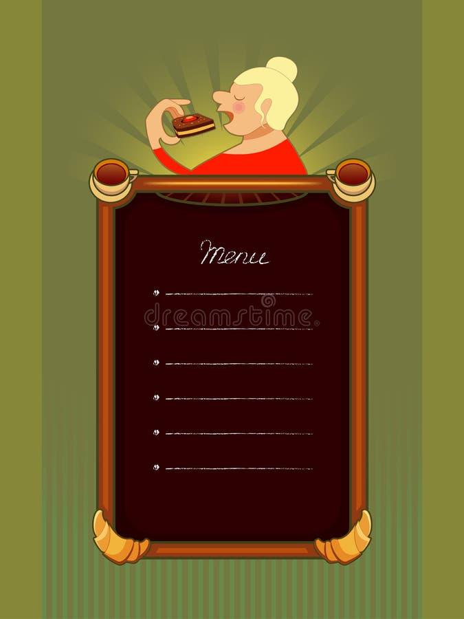 Il menu per il caffè, con il dolce di donna-cibo illustrazione vettoriale