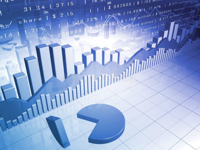 Il mercato azionario con il grafico a settori 3D ed i dati del mercato illustrazione di stock