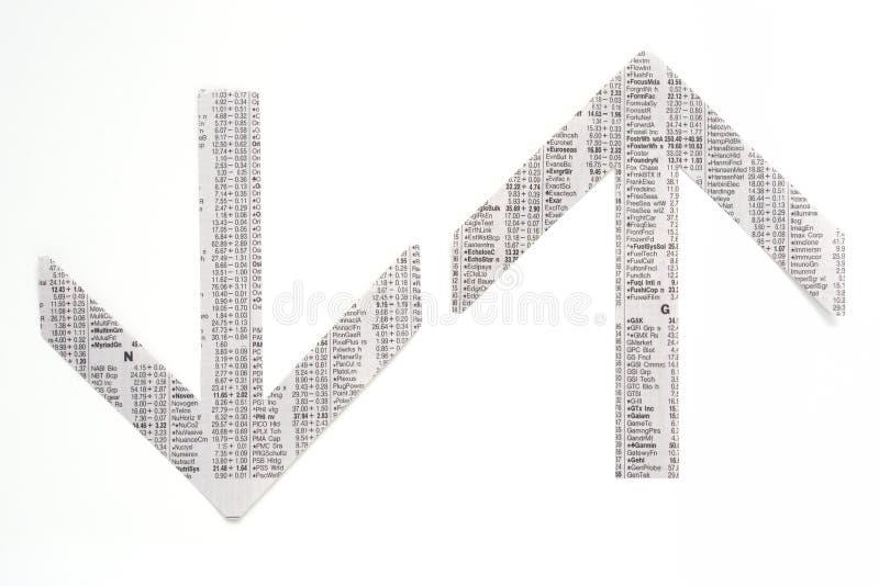 Il mercato azionario del giornale traccia una carta di, citazioni e prezzi immagini stock