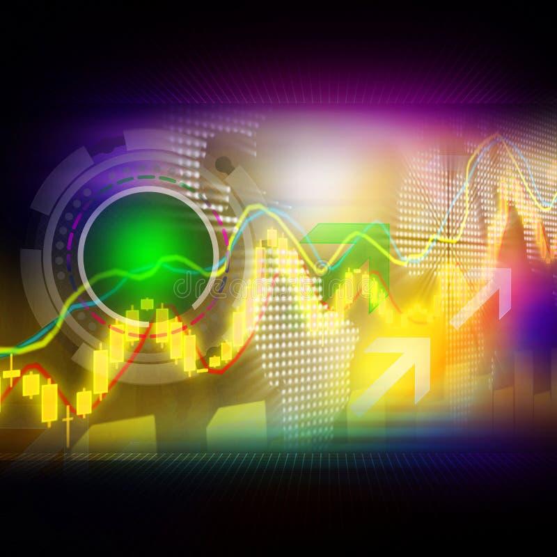 Il mercato azionario rappresenta graficamente elegante variopinto su fondo astratto fotografia stock libera da diritti