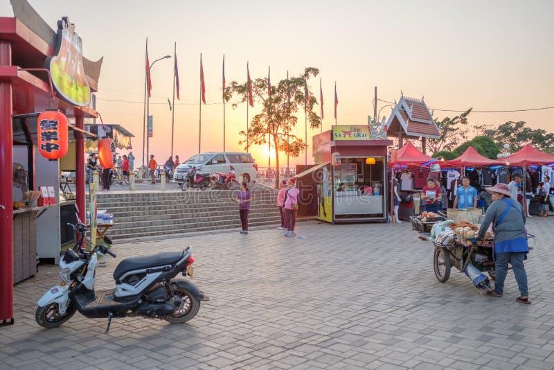 Il mercato di notte a Vientiane, Laos immagini stock libere da diritti