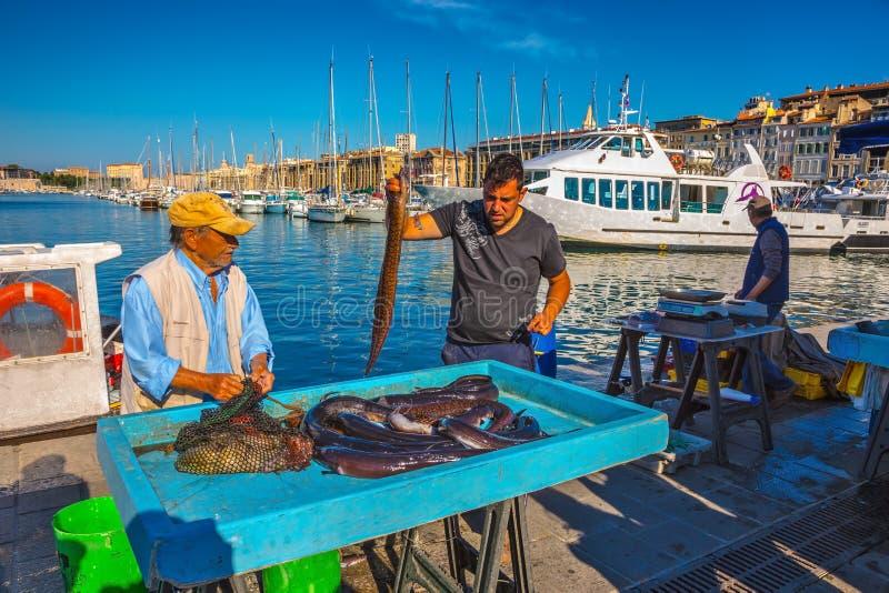 Il mercato ittico di mattina a Marsiglia fotografie stock libere da diritti