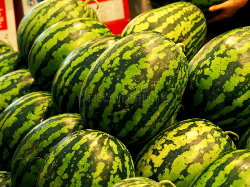 Il mercato tradizionale frutta e verdure, anguria immagine stock libera da diritti