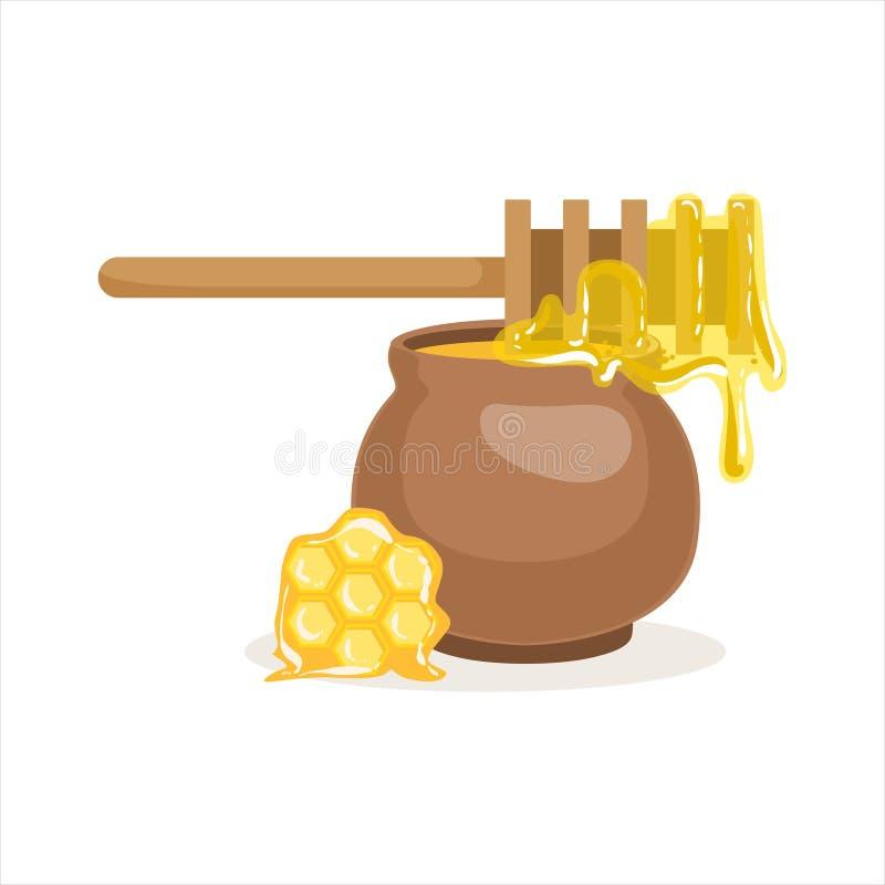 Il merlo acquaiolo del miele ed il vaso di argilla di legno vector l'illustrazione illustrazione di stock