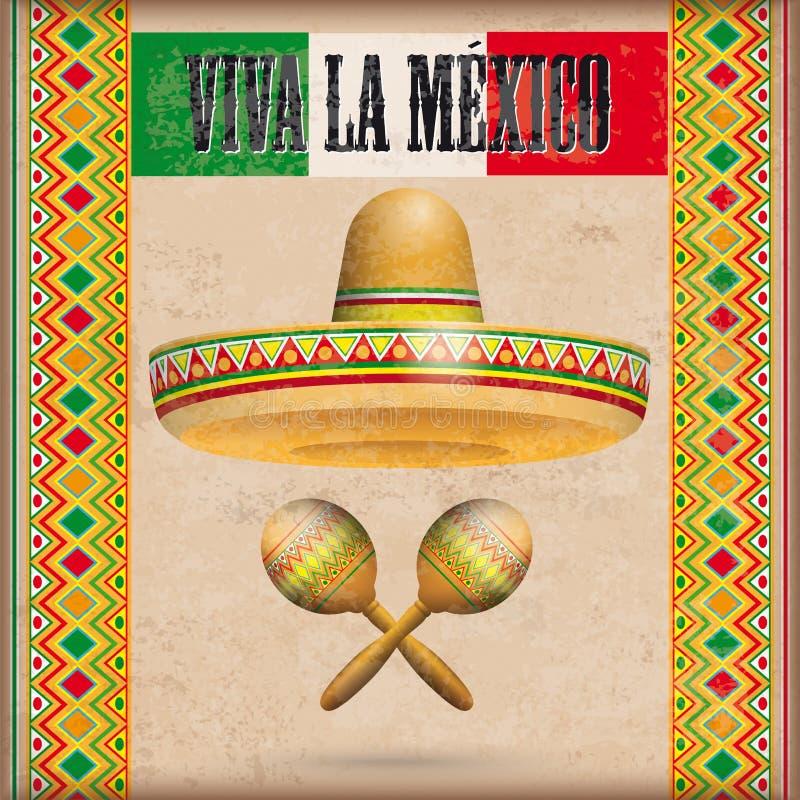 Il messicano d'annata orna i maracas Viva La Mexico del sombrero illustrazione di stock