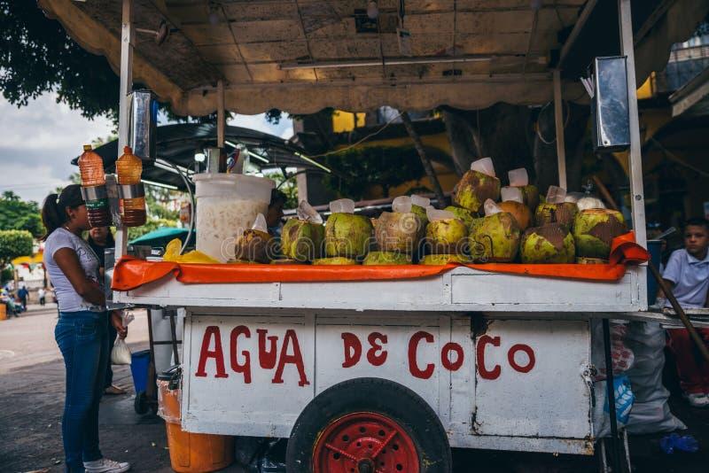 IL MESSICO - 25 SETTEMBRE: spinga il carretto con le noci di cocco da vendere, Septem fotografie stock