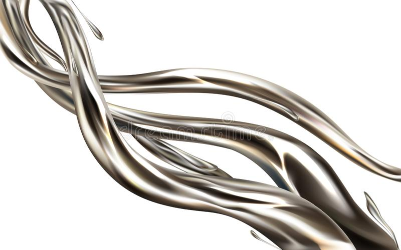 Il metallo liquido schizza il vettore realistico 3d illustrazione di stock