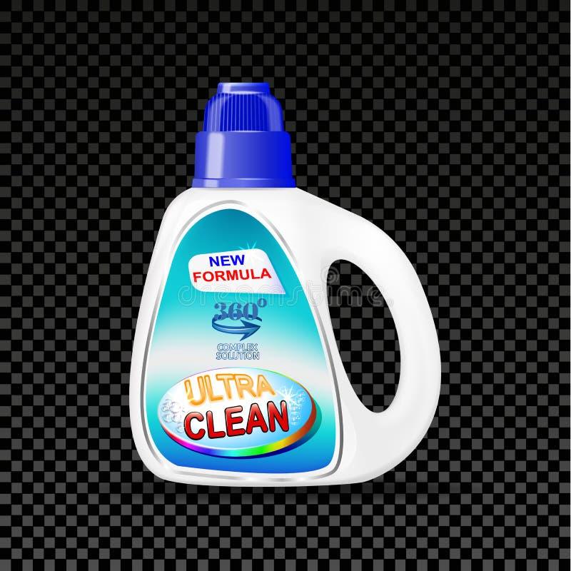 Il mezzo della bottiglia di pubblicità del modello per lavare copre su un fondo trasparente royalty illustrazione gratis