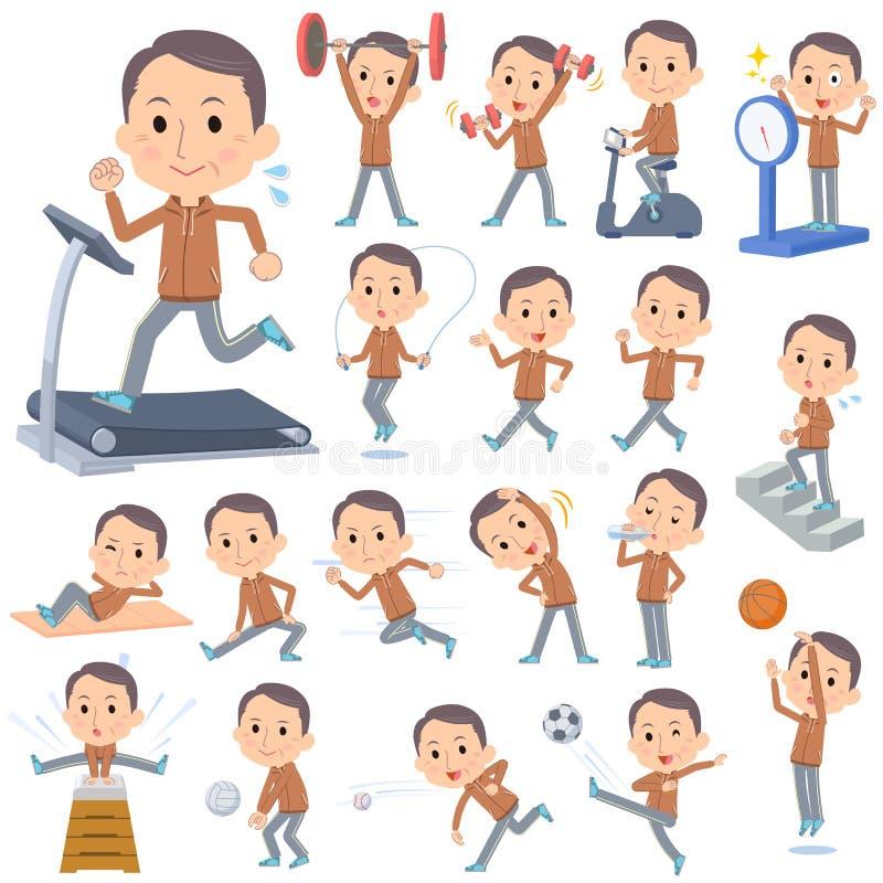 Il mezzo di usura di Brown ha invecchiato gli sport & l'esercizio dell'uomo royalty illustrazione gratis