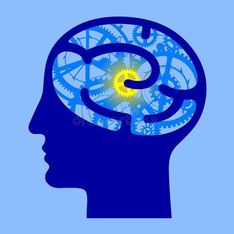 Il mezzo fronte della testa umana del blu con il cervello innesta illustrazione di stock