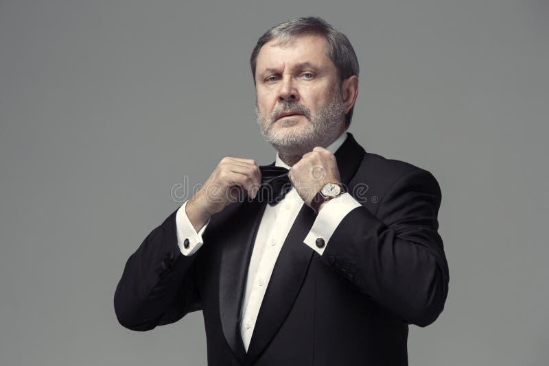 Il mezzo ha invecchiato l'adulto maschio che indossa un vestito su gray fotografia stock