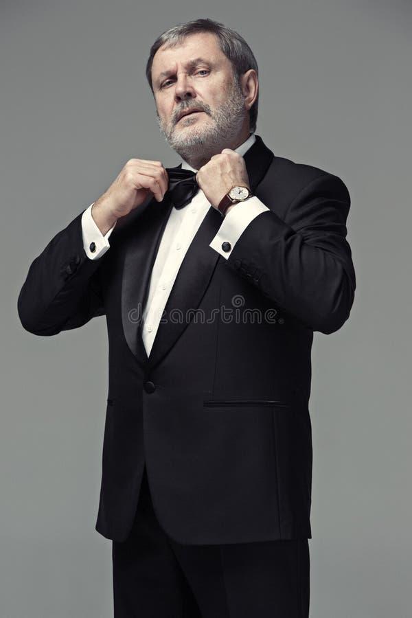 Il mezzo ha invecchiato l'adulto maschio che indossa un vestito su gray fotografia stock libera da diritti