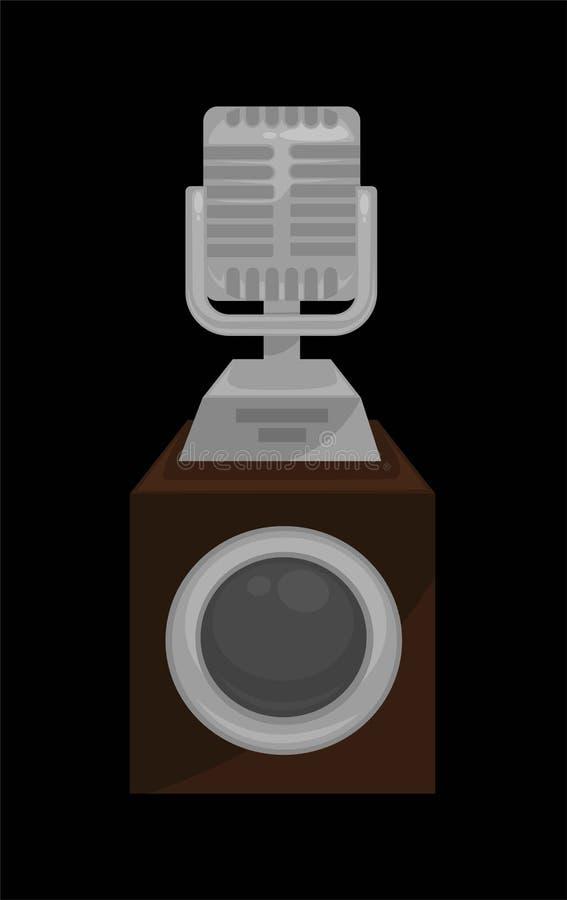 Il microfono brillante dell'oro sul supporto costante ha isolato l'illustrazione piana di vettore del fumetto su fondo bianco illustrazione di stock