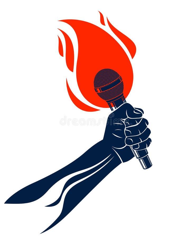 Il microfono a disposizione su fuoco, mic caldo nello spettacolo dal vivo delle fiamme, battaglia di rap rima musica, festival di illustrazione vettoriale