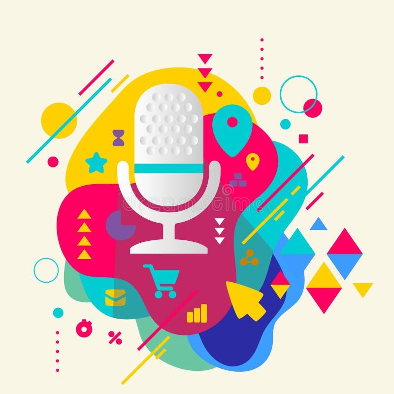 Il microfono su fondo macchiato variopinto astratto con differen illustrazione vettoriale