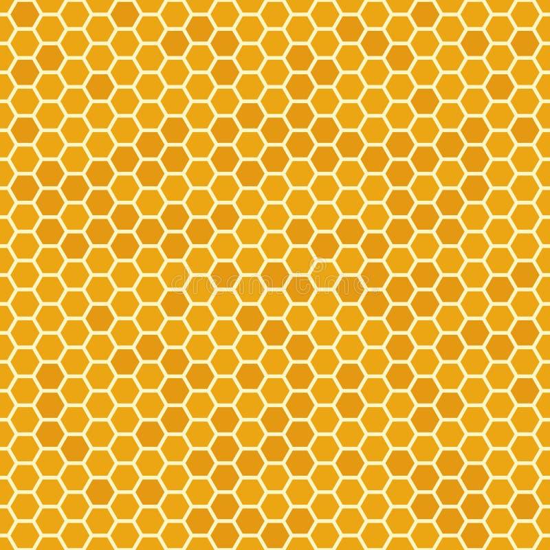 Il miele senza cuciture arancio pettina il modello Struttura del favo, fondo mellifluo esagonale di vettore del pettine royalty illustrazione gratis