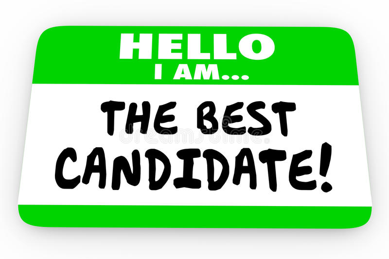 Il migliore autoadesivo dell'etichetta di nome del candidato ciao illustrazione di stock