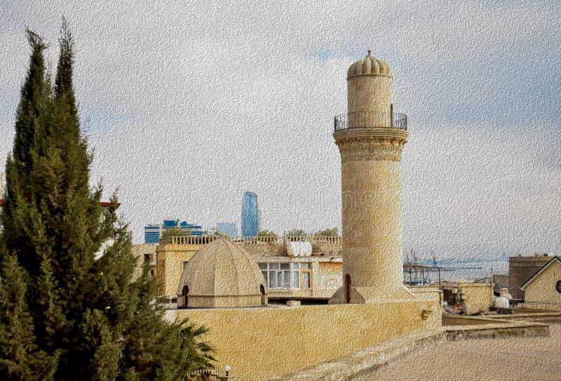 Il minareto della moschea nella vecchia città della città illustrazione di stock