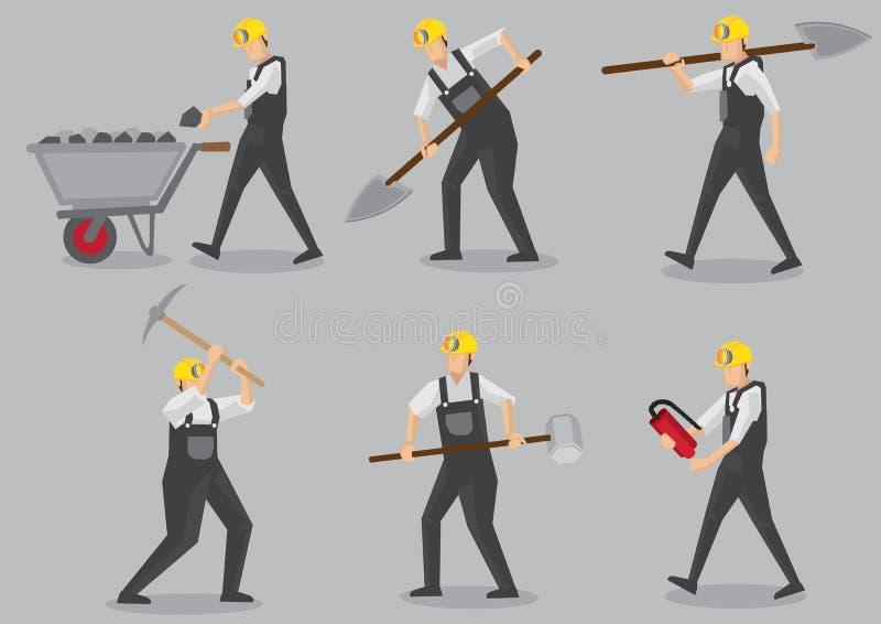 Il minatore con lavoro foggia l'illustrazione dei caratteri di vettore royalty illustrazione gratis