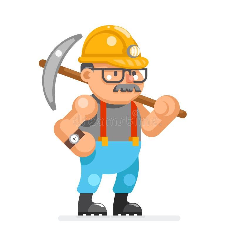 Il minatore del fumetto del carattere del pitman dell'uomo del minatore del minatore ha isolato l'illustrazione piana di vettore  illustrazione vettoriale