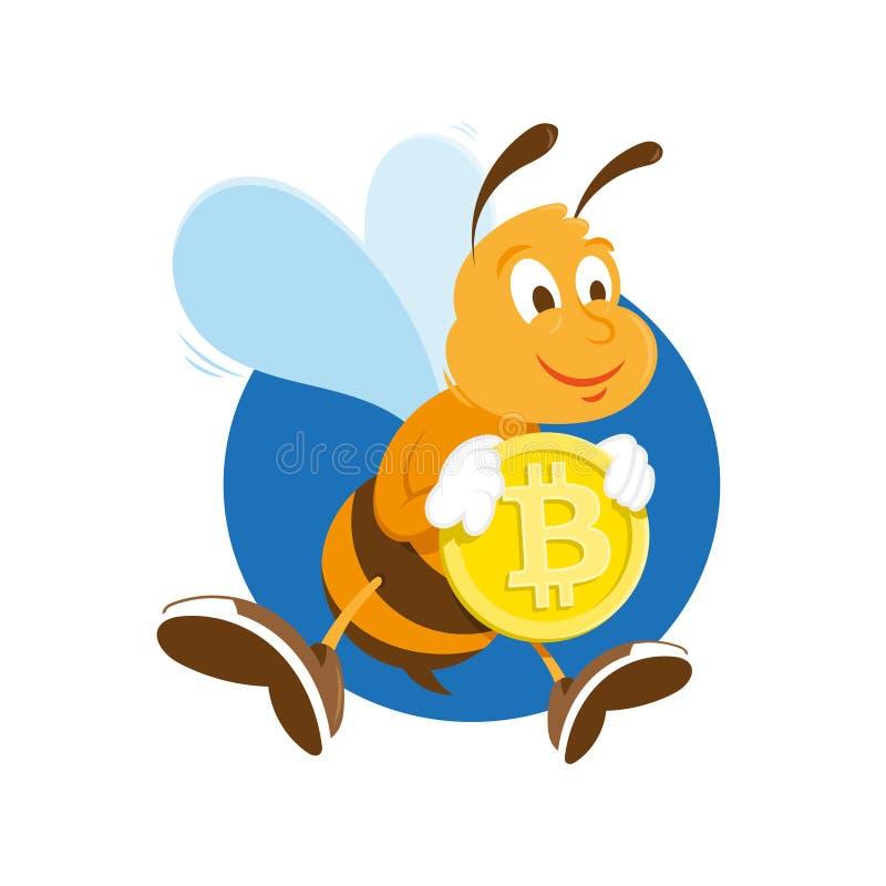 Il minatore dell'ape tiene il bitcoin dell'oro illustrazione vettoriale