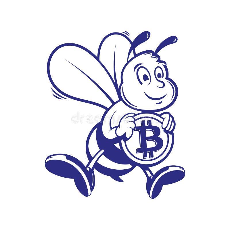 Il minatore dell'ape tiene il bitcoin dell'oro royalty illustrazione gratis