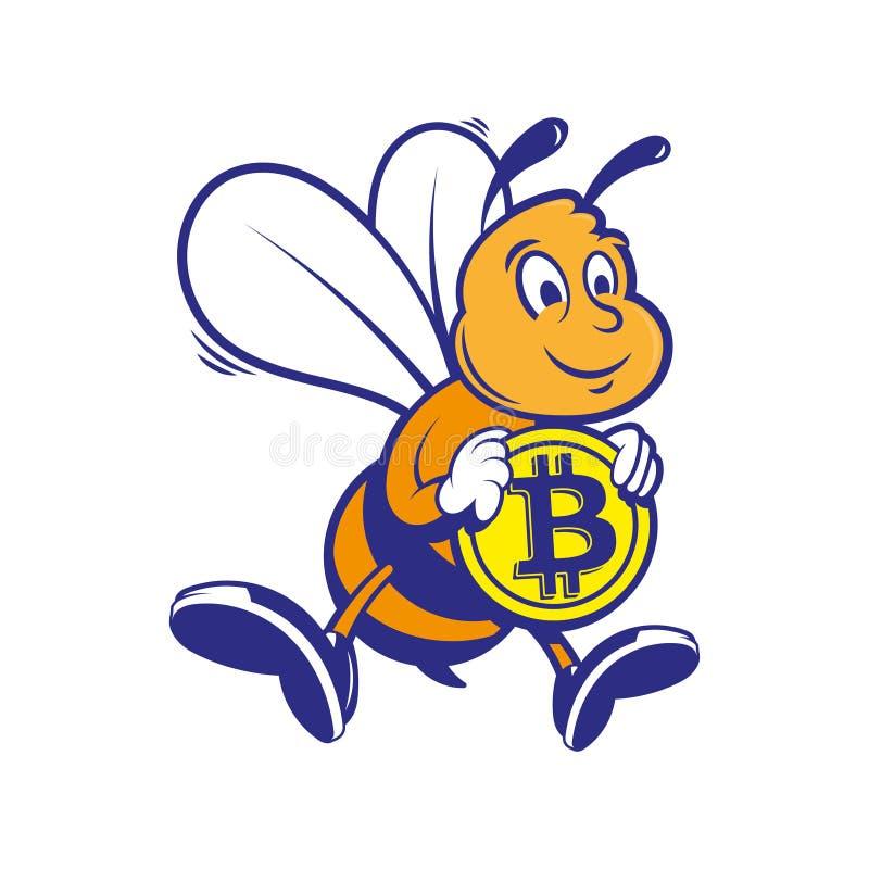 Il minatore dell'ape tiene il bitcoin dell'oro illustrazione di stock