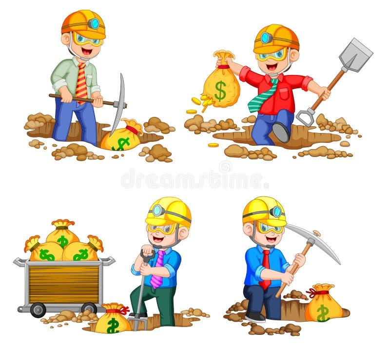 Il minatore sta tenendo una borsa delle monete dorate dalla terra illustrazione vettoriale