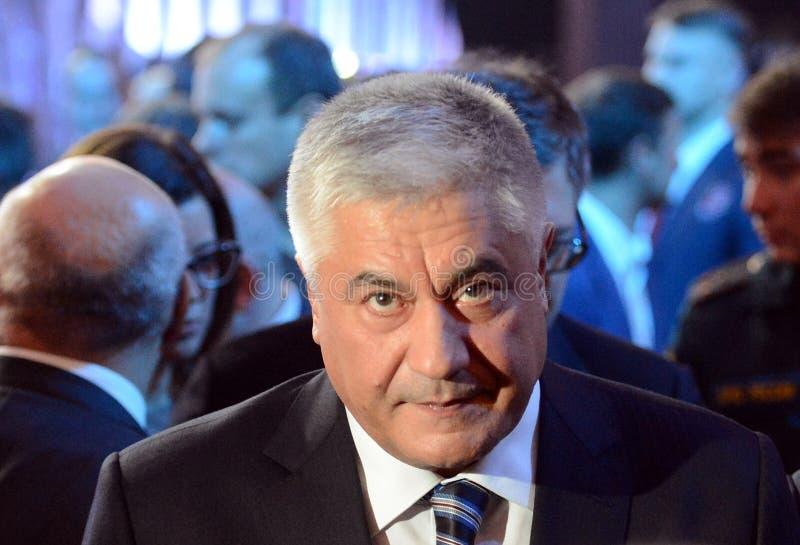 Il ministro degli affari interni della Federazione Russa Vladimir Kolokoltsev alla cerimonia di assegnazione dei vincitori del wa immagine stock