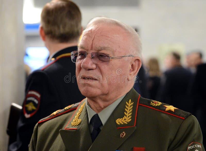 Il ministro degli affari interni della Russia 1995-1998 Anatoly Sergeevich Kulikov, generale dell'esercito, il comm russo dei mil fotografie stock