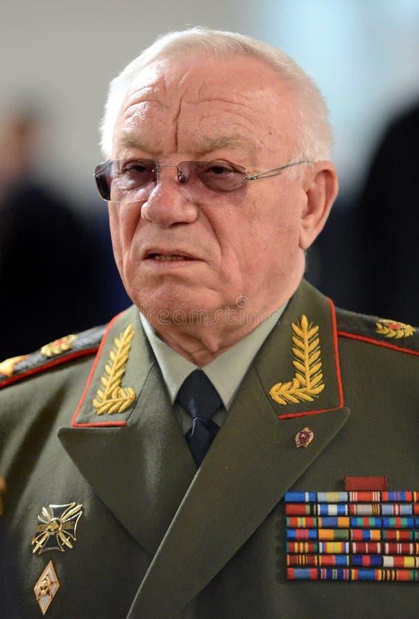 Il ministro degli affari interni della Russia 1995-1998 Anatoly Sergeevich Kulikov, generale dell'esercito, il comm russo dei mil fotografia stock libera da diritti