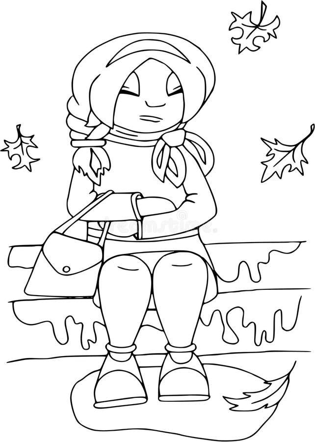 Il mio autunno, ragazza di seduta Gente piana di stile, personaggi dei cartoni animati, modello di coloritura fotografie stock libere da diritti