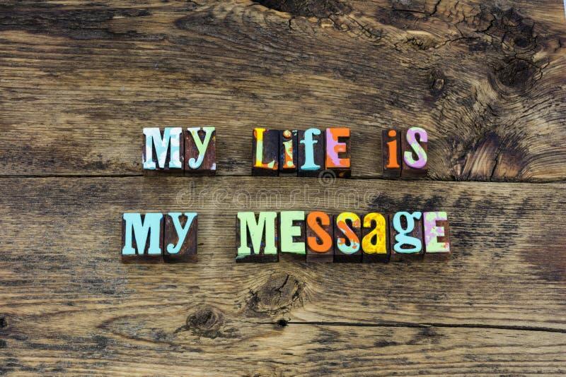 Il mio cambiamento del messaggio di vita che significa tipografia di amore fotografie stock libere da diritti