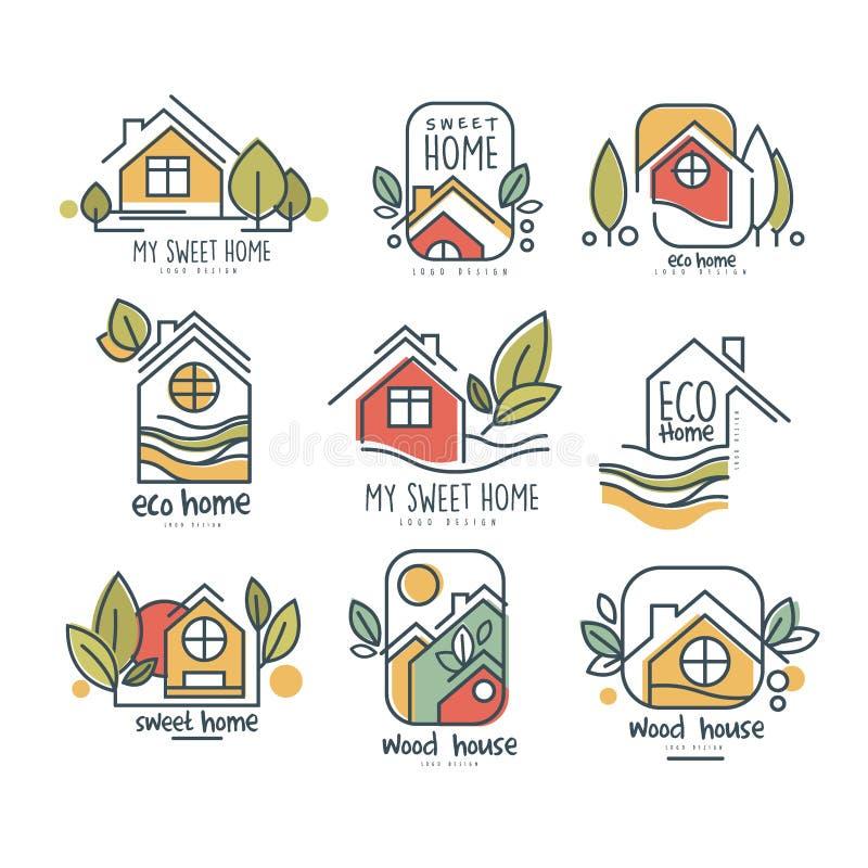 Il mio insieme domestico dolce di logo, casa di eco, illustrazioni di vettore di concetto della casa di legno su un fondo bianco illustrazione vettoriale