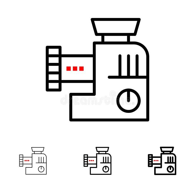 Il miscelatore, cucina, manuale, mescola la linea nera audace e sottile insieme dell'icona royalty illustrazione gratis