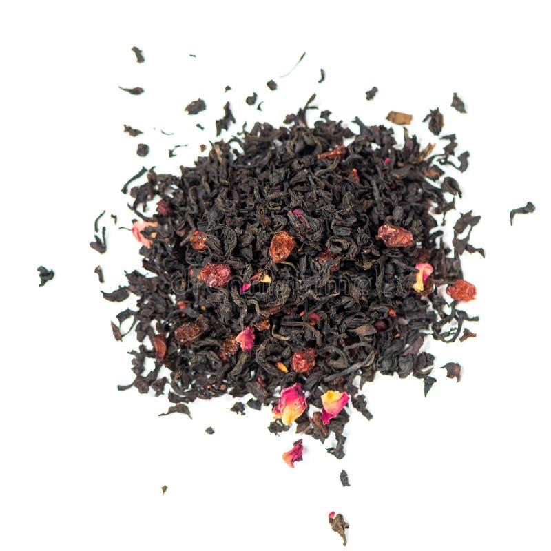 Il mix di tè nero contiene barberry e mirtilli rossi fotografia stock libera da diritti