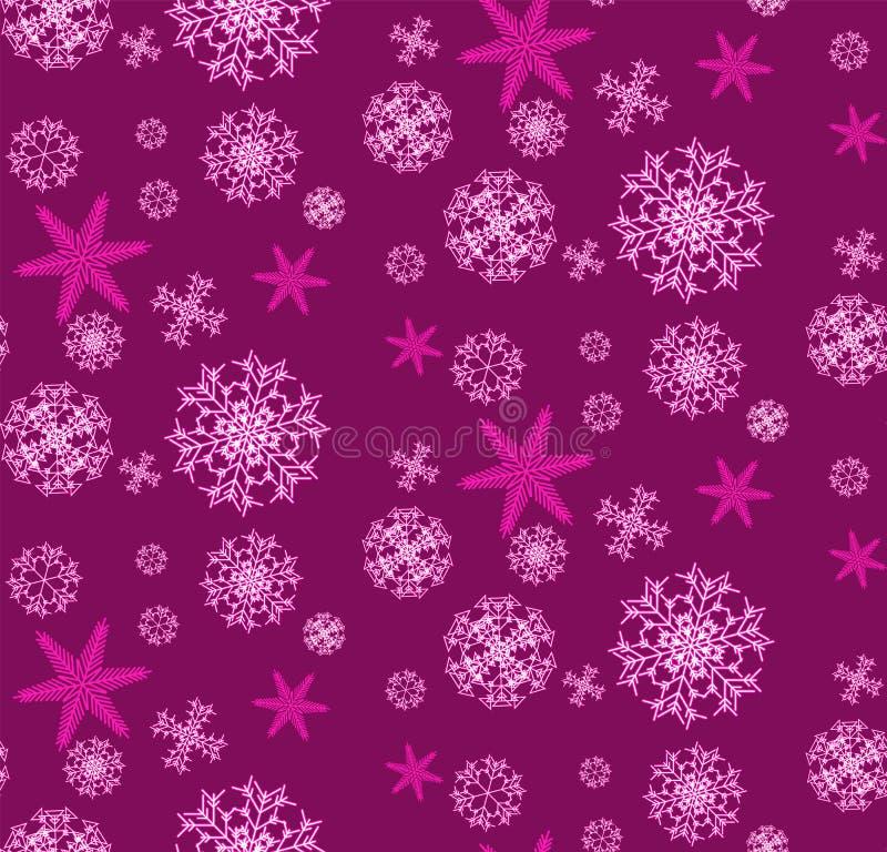 Il modello è senza cuciture da bello, da Natale, scolpiti, ` s del nuovo anno, fiocchi di neve rosa e porpora unici festivi dello illustrazione vettoriale