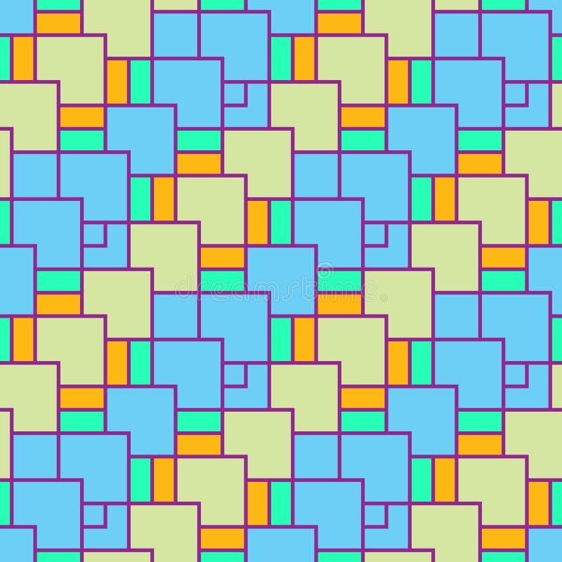 Il modello è senza cuciture, geometrico dei quadrati colorati delle dimensioni differenti royalty illustrazione gratis